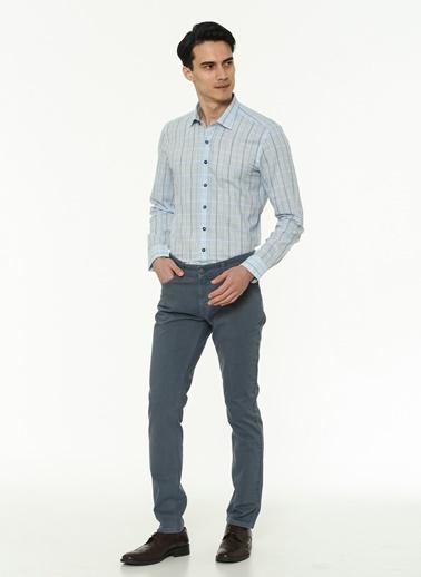 Beymen Business 4B2019200055 Açık Mavi Slim Fit Gömlek Kareli Mavi